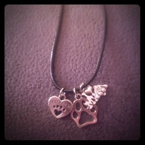 Dog mom paw print best friend silver necklace
